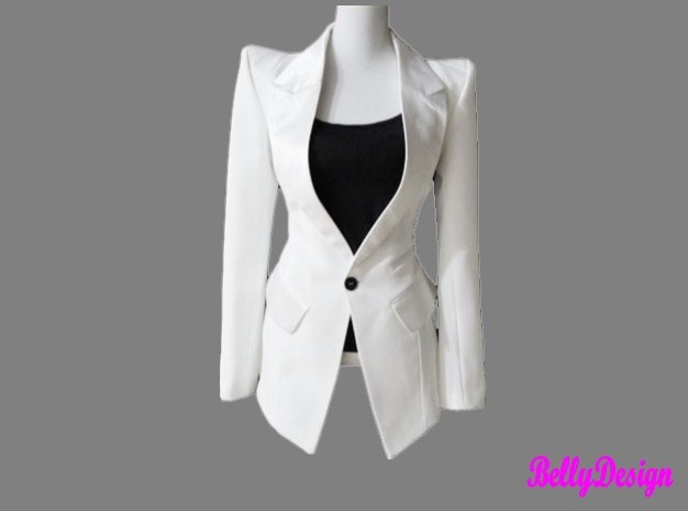 Vintage peak power shoulder slim elegant suit blazer jacket black/white s xxl