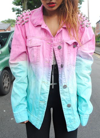 jacket dip dyed pink denim denim jacket studded hipster ombre