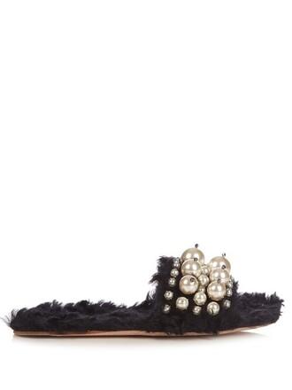 pearl embellished sandals black shoes