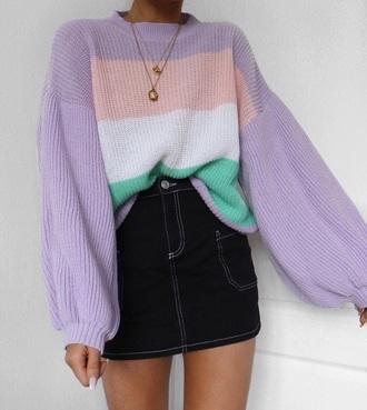 sweater lilac striped sweater skirt mini skirt denim skirt knit stripes knitwear