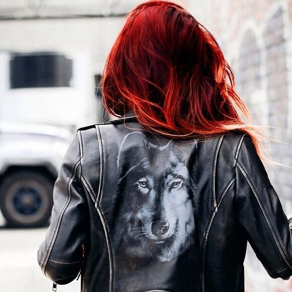 jacket diesel leather jacket prefall redhead wolf