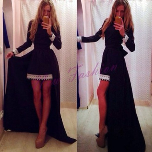 dress high low dress black and white dress black dress long sleeve dress prom dress party dress maxi dress