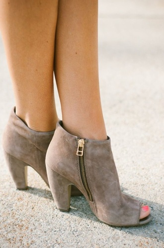 shoes boots booties zip gold zipper brown boots brown booties heels open toed boots open toed booties fashion style open toes