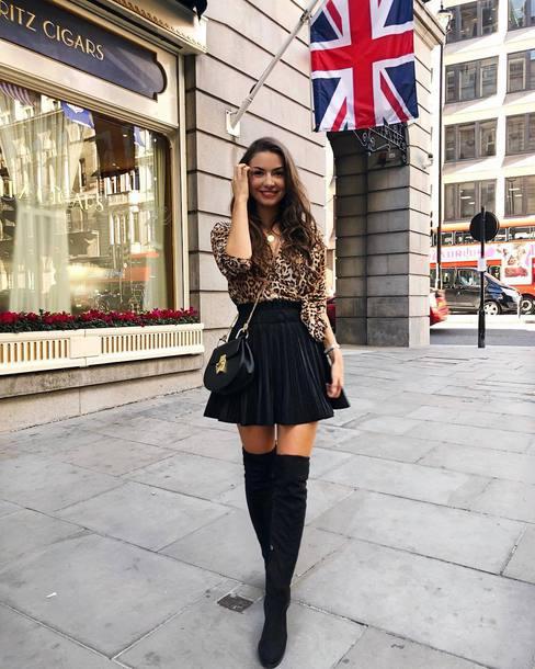 70d17fa1c top, shirt, leopard print, mini skirt, black skirt, high waisted ...