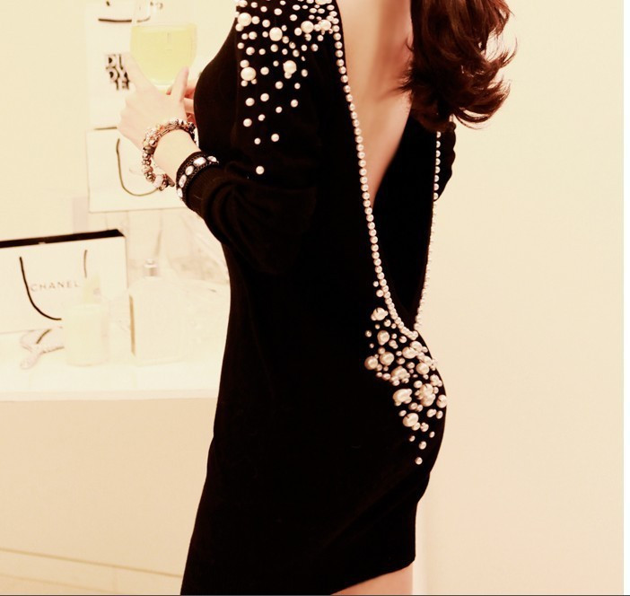 2013 New Fashion Women Sexy Short Dress Backless V back Pearl Inlaid Temperament Package Hip Bottoming Dress xb252-in Dresses from Apparel & Accessories on Aliexpress.com