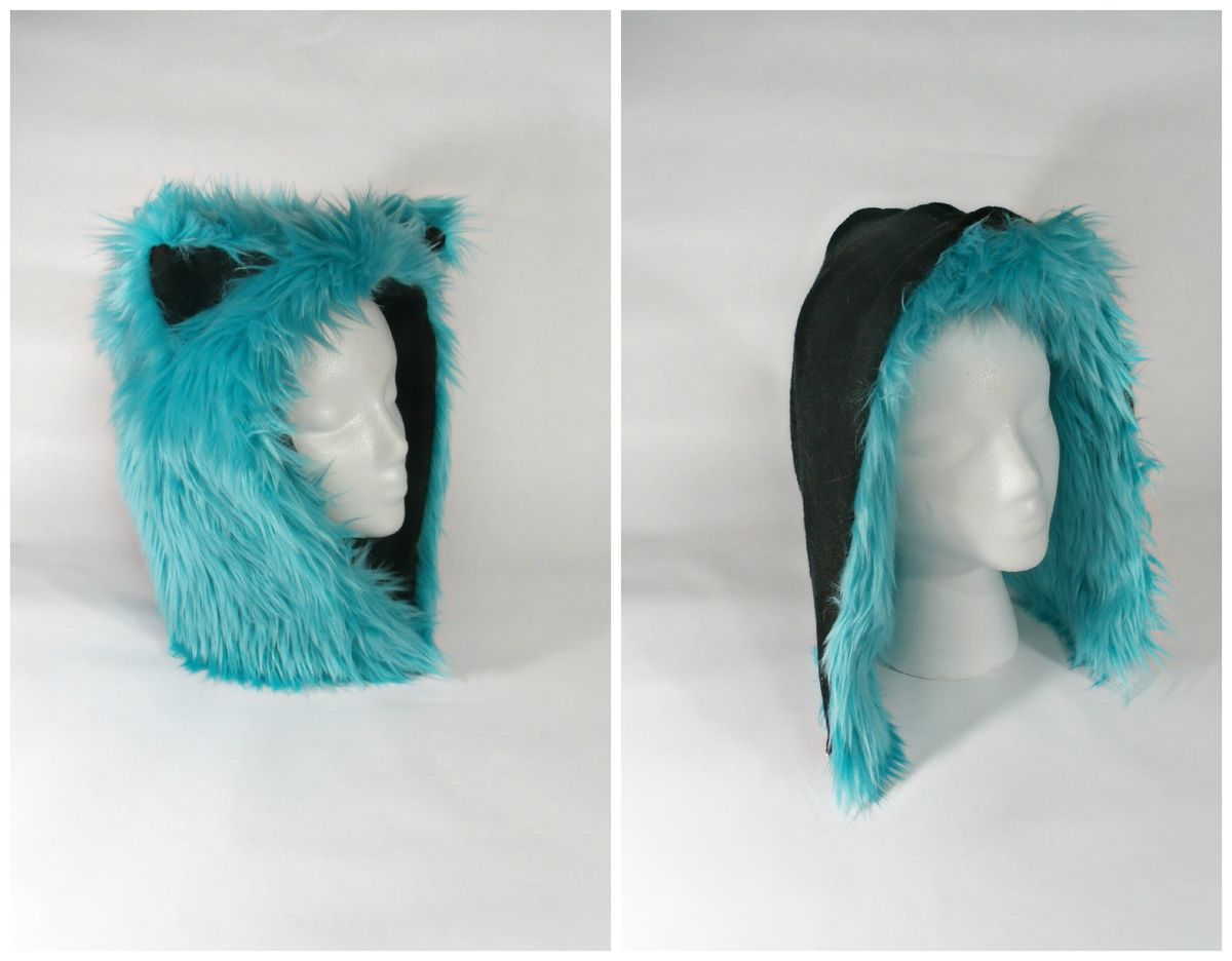 Furry Cat Hat with Ears Reversible Turquoise and Black