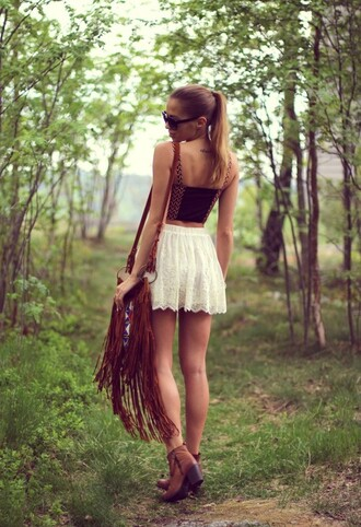 skirt bag sunglasses tank top white lace skirt brown leather boots leather bag fringed bag black tank top gold detail black and gold top cute outfits shirt bustier shoes fringes white lace shorts