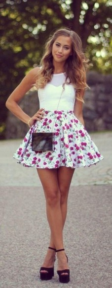 cherry skirt cherries summer fun vintage skater skirt shoes floral purple shirt