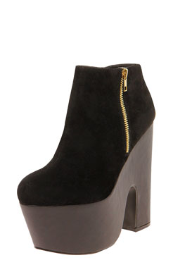 Jessica Suedette & PU Contrast Zip Side Shoe Boot at boohoo.com