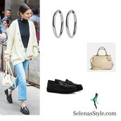 jeans,selena gomez,white cable knit cardigan,silver hoop earrings