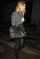 pants,leather pants,rosie huntington-whiteley,coat,bag