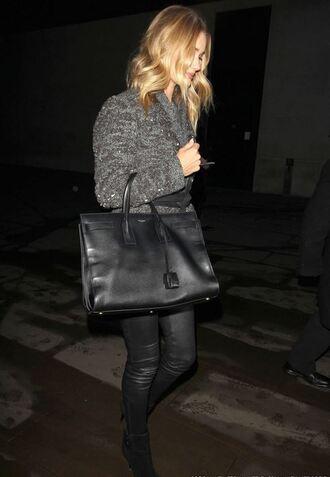 pants leather pants rosie huntington-whiteley coat bag