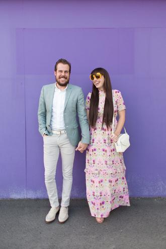 kelsey bang blogger jacket shirt pants shoes dress make-up bag maxi dress floral dress white bag spring outfits