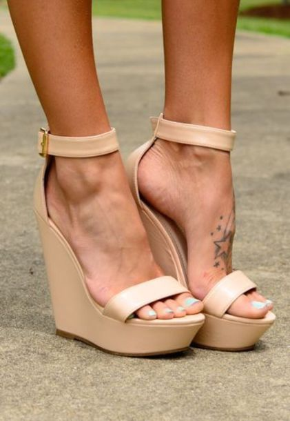 Shoes: nude wedges, ankle strap, nude pumps, nude heels, wedges ...