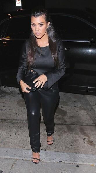 pants blouse sandals all black everything kourtney kardashian