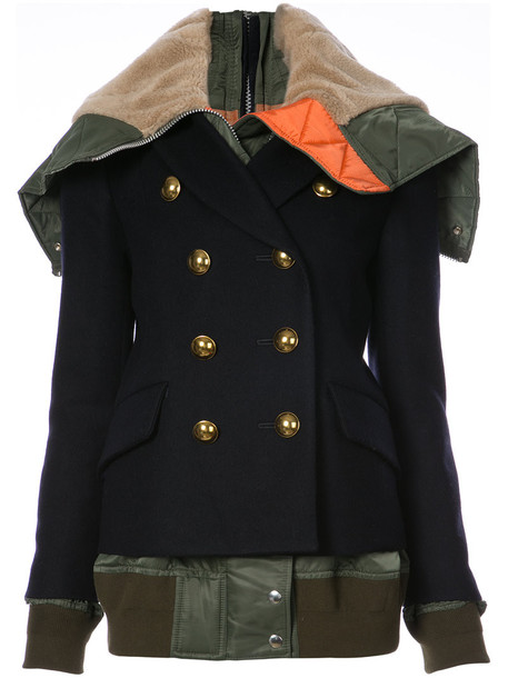 Sacai double breasted women blue wool jacket