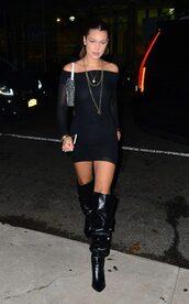 dress,off the shoulder,off the shoulder dress,black dress,mini dress,model off-duty,boots,shoes