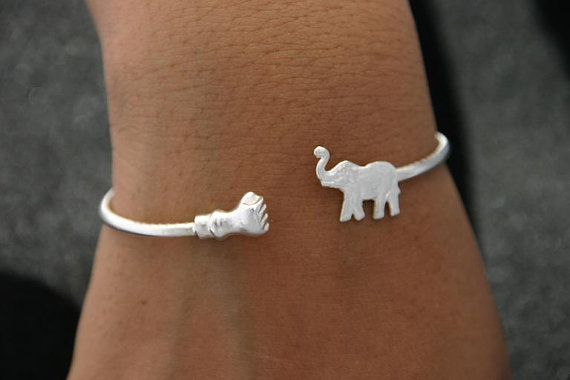 Sterling silver bracelet bangle elephant and fist by ulovejewelry