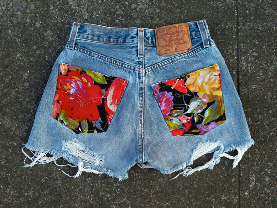 Floral Vintage Levi's Cutoffs by MarshVintageDesigns on Etsy