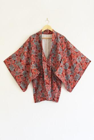 20 50s style girlie poppy preppy print unique pattern kimono cardigan