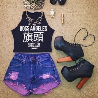shorts dyed shorts cut offs purple and blue hipster urban tank top shoes