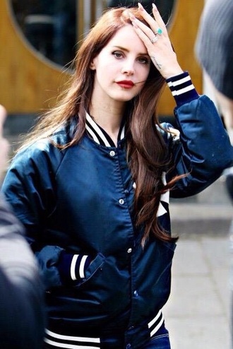 jacket lana del rey baseball jacket blue jacket