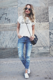 rock and roses,t-shirt,jeans,shoes,bag,sunglasses,blue skinny jeans,ripped jeans,boyfriend jeans,shirt,paris,white t-shirt,paris shirt,streetstyle,vans,chanel bag,chanel,nail polish,casual,school outfit,red lipstick