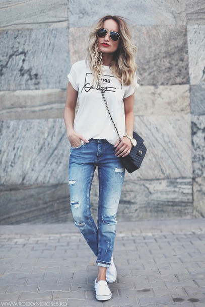 rock and roses t-shirt jeans shoes bag sunglasses blue skinny jeans ripped jeans boyfriend jeans shirt paris white t-shirt paris shirt streetstyle vans chanel bag chanel nail polish casual school outfit red lipstick