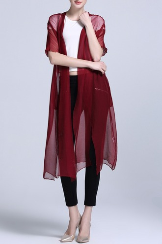 cardigan dezzal red see through mesh streetstyle