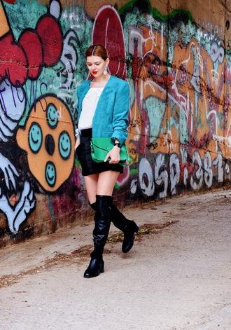 m&m fashion bites blogger blouse jacket skirt shoes bag jewels scarf t-shirt fall outfits blazer green bag shoulder bag boots mini skirt