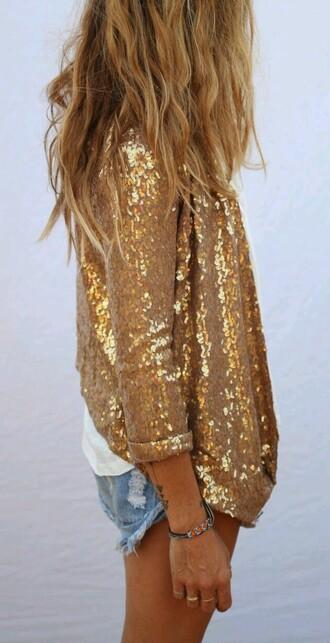 cardigan gold sequin blazer jacket