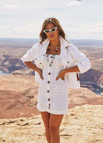 dress white white dress rocky barnes jacket blogger instagram denim white denim mini dress sunglasses spring outfits all white everything summer dress