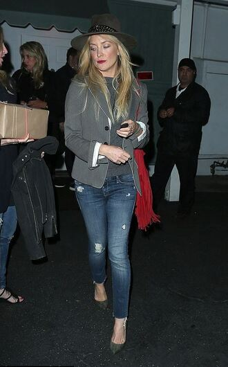 jeans denim kate hudson blazer jacket hat purse