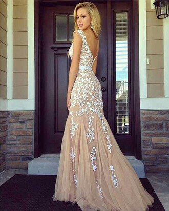 dress prom dress flowers skin color