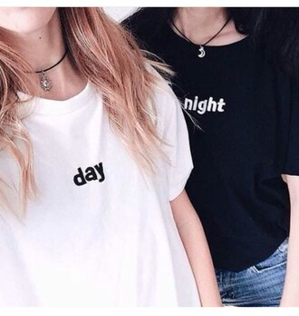shirt black and white day & night matching shirts matching couples t-shirt tumblr outfit graphic tee white day black night white t-shirt black t-shirt cute bestfriend shirt kozy trendy hippie day and night moon boho boho chic sun magic choker necklace yin yang weheartit fashion cool soft grunge streetwear beautifulhalo
