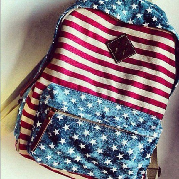 Bag Backpack Stars Stripes American Flag Red White
