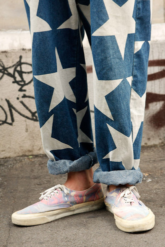 oversized vintage blue pants white pants boyfriend jeans denim stars