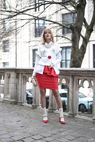 from brussels with love blogger sweater shirt skirt shoes bag spring outfits red skirt pumps red heels clutch