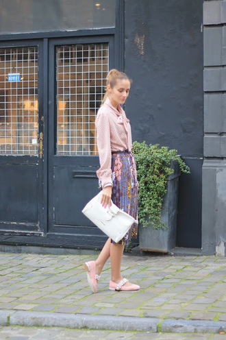 from brussels with love blogger shirt skirt bag clutch midi skirt