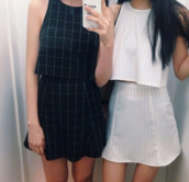 skirt,top,checked skirt,two-piece,twosie,co-ordinates,co-ord,grid,tights,casual,t-shirt,square top,set,shirt,matching outfit,waist high skirt,blouse,jumpsuit,dress,grid dress,grid skirt,grid croptop,black,black grid,style,plaid skirt,plaid,striped skirt,stripes,cute dress,cute top,black crop top,pretty,cool