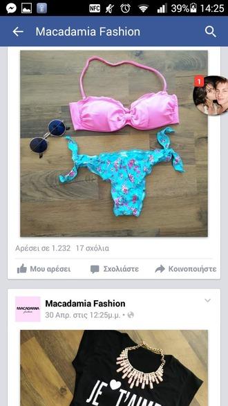 swimwear floral bikini blue bikini summer bikini top