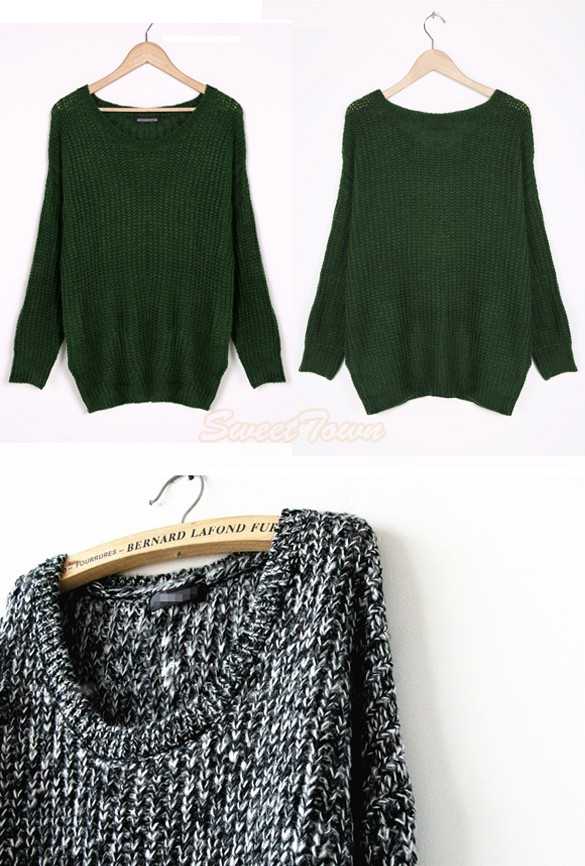 New 2014 winter women loose knitted sweater women's clothes casual pullover oversized sweaters long sleeve sv16 cb030338