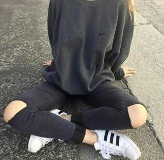 sweater nike grey grey sweater black cute cute sweater