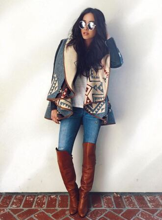 coat fall outfits boots shay mitchell sunglasses denim jeans instagram