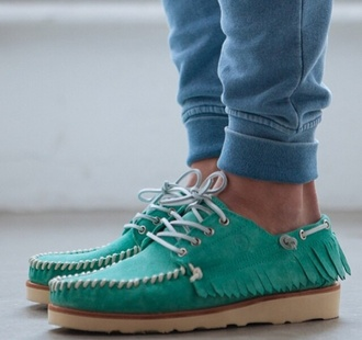shoes moccasins mens shoes menswear boat shoes turquoise fringes summer outfits teal-ish