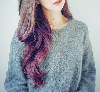 laine gris col rond hair