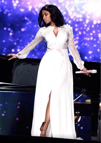 nicki minaj white dress prom dress