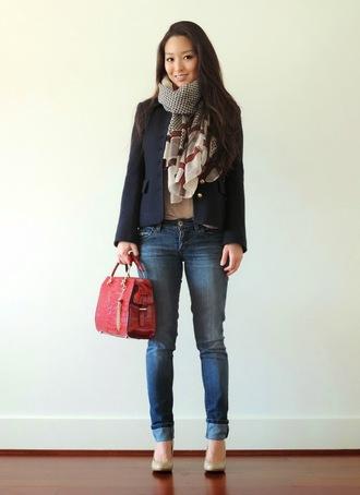 sensible stylista blogger red bag printed scarf blazer