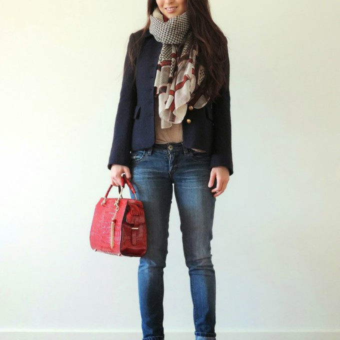 scarf jacket jeans shoes bag blazer t-shirt blogger red bag sensible stylista printed scarf scarf red