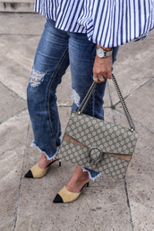 shoes,tumblr,chanel mules,chanel shoes,denim,jeans,blue jeans,frayed jeans,frayed denim,bag,gucci,gucci bag